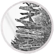 Country Places Round Beach Towel