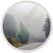 Country Road Fog Round Beach Towel