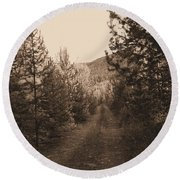 Country Road In Sepia  Round Beach Towel