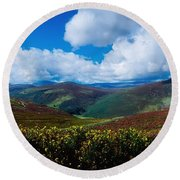 Country Road, Near Luggala Mountain, Co Round Beach Towel