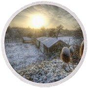 Country Snow And Sunrise Round Beach Towel by Yhun Suarez