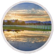 Country Sunset Reflection Round Beach Towel