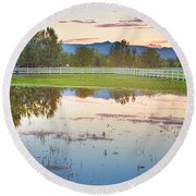 Country Sunset Reflections Round Beach Towel