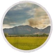 Country View Of The Flagstaff Fire Round Beach Towel