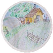 Country Woodshed Round Beach Towel by Debbie Portwood