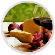 Countryside Wine  Cheese And Fruit Round Beach Towel by Elaine Plesser