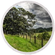 Countryside With Old Fig Tree Round Beach Towel