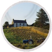 County Cork, Ireland Farmer On Tractor Round Beach Towel
