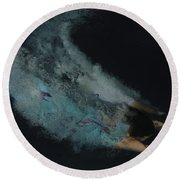 Couple Dive Together Into Water. Round Beach Towel