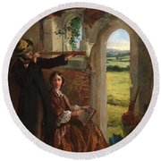 Couple Observing A Landscape Round Beach Towel by English School