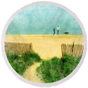 Couple Walking Dog On Beach Round Beach Towel by Jill Battaglia