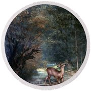 Courbet: Hunted Deer, 1866 Round Beach Towel