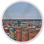 Courthouse And Statler Towers Winter Round Beach Towel