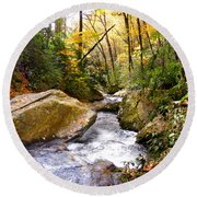 Courthouse River In The Fall 2 Round Beach Towel