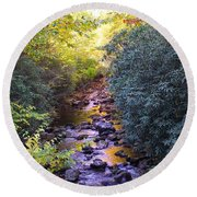 Courthouse River In The Fall 3 Round Beach Towel