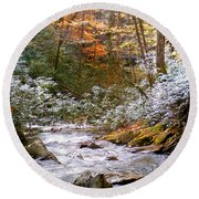 Courthouse River In The Fall Round Beach Towel