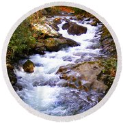 Courthouse River In The Fall Filtered Round Beach Towel