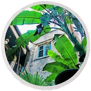 Courtyard Feelings Cafe Nola Round Beach Towel