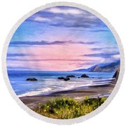 Cove On The Lost Coast Round Beach Towel