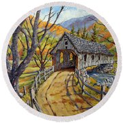 Covered Bridge 04 Round Beach Towel