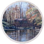 Covered Bridge At Lake Roaming Rock Round Beach Towel