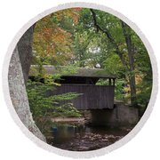 Covered Bridge By The Cottage  Round Beach Towel