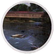 Covered Bridge In The Rain Round Beach Towel