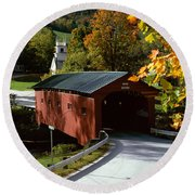 Covered Bridge In Vermont Round Beach Towel