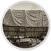 Covered Wagon Sepia Round Beach Towel