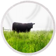Cow Country Round Beach Towel