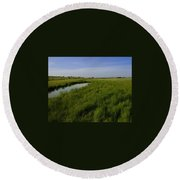 Cow Field 1 Round Beach Towel