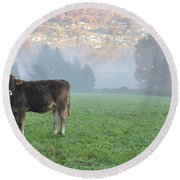 Cow On The Foggy Field Round Beach Towel
