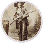 Cowboy, 1880s Round Beach Towel