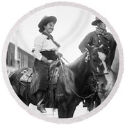 Cowboy And Cowgirl, C1908 Round Beach Towel
