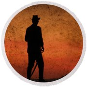Cowboy At Sunset Round Beach Towel