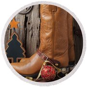 Cowboy Boots And Christmas Ornaments Round Beach Towel