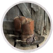 Cowboy Boots With Spurs Round Beach Towel