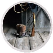 Cowboy Hat Boots Lasso And Rifle Round Beach Towel