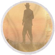 Cowboy On The Hill Round Beach Towel