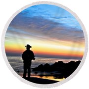 Cowboy Sunrise Round Beach Towel