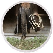 Cowboy With Guns And Rope Round Beach Towel