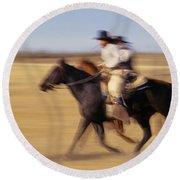 Cowboys Racing Horses Round Beach Towel