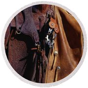 Cowboys Saddle And Chaps Detail Round Beach Towel