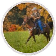Cowgirl Round Beach Towel by Susan Candelario