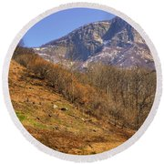 Cowhouse And Snow-capped Mountain Round Beach Towel