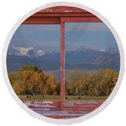 Cows Life Colorado Autumn Rocky Mountains Picture Window Art Round Beach Towel