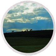 Cows On The Hill Round Beach Towel