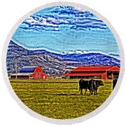 Cows Pasture Barns Superspecialeffect Round Beach Towel