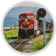 Cp Coal Train And Signal Round Beach Towel