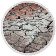 Cracked Earth Round Beach Towel